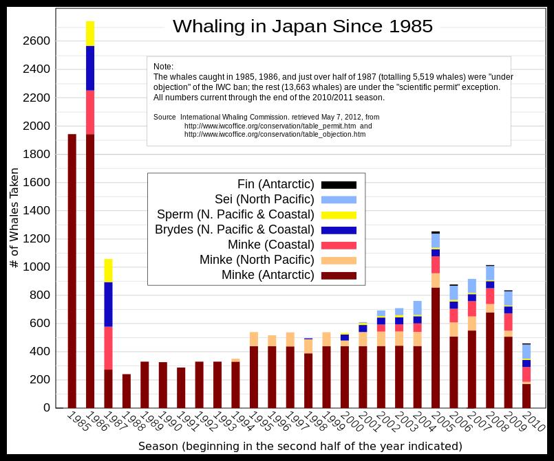 Foto: Abb. 1: Walfänge Japan ( Finnwale, Seiwale, Pottwale, Brydewale und Zwergwale (Minke) [17]